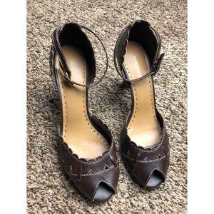 Gianni Bini Brown Strap Peep Toe Heels Size 9